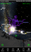 Screenshot of SkySafari showing planets aligning for December 2012.