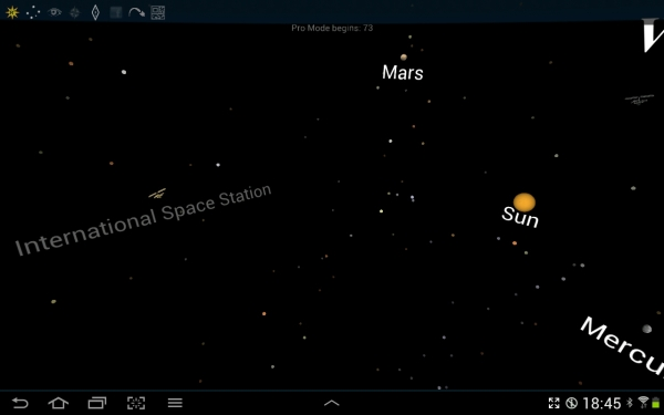 Screenshot of Space Junk showing International Space Station and planets.