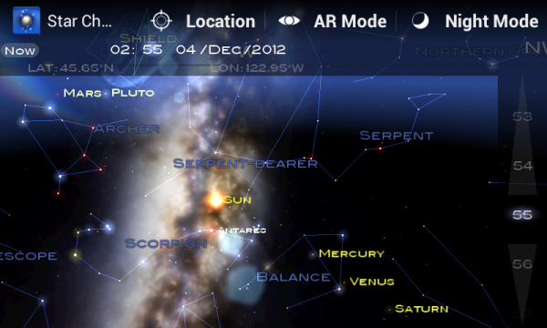 Screen shot example of Star Chart showing planets aligning for December 2012.