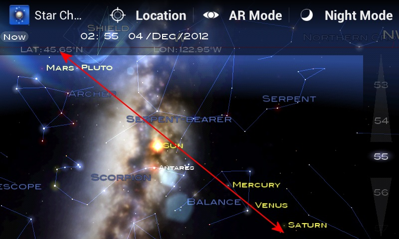 Screenshot of Android App Star Chart showing alignment of planets, December 2012