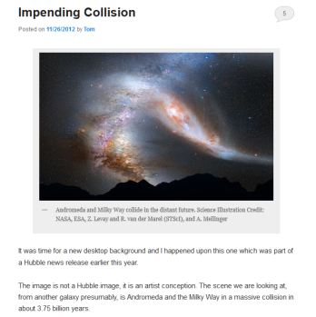 Toms Astronomy blog, screen capture of an article on galaxies colliding.