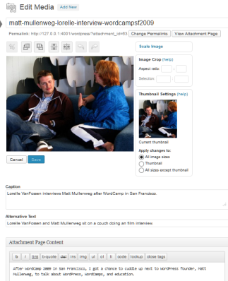 Example of the built-in WordPress Image Editor with the ability to crop, scale, flip, rotate, and edit image details.