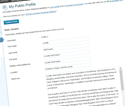 Example of the WordPress author description on Users - My Profile Panel.