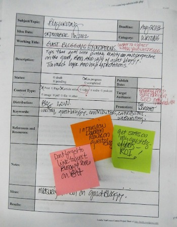 Example of a content project form by Lorelle VanFossen covered with notes and sticky notes.