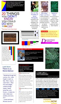 CSS Experiments by Lorelle VanFossen - examples from Cameraontheroad.com.