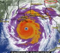 Screen capture of news satellite radar perspective of Hurricane Katrina hitting the US Gulf Coast.