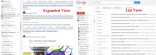 Google Feed Reader - comparing the list and expanded views.