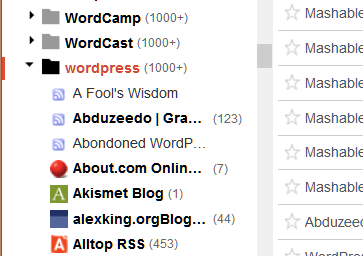 Google Feed Reader - List of sites in folders.