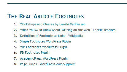 Example usage of footnote in a list in a WordPress site.