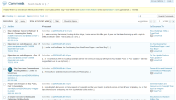 Example of search results for trackbacks on Lorelle on WordPress.