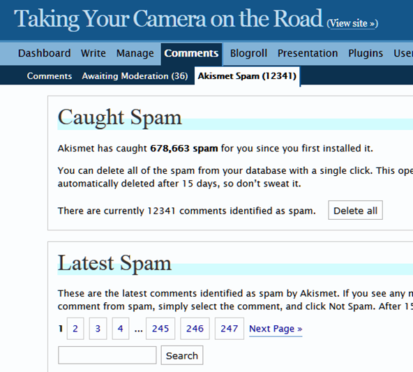 Akismet comment spam catcher counter caught 12341 comment spam on my site.