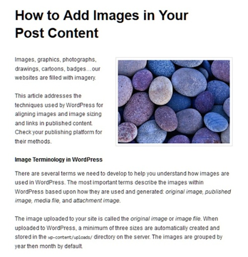 Example of a post with headings. This example starts with the post title and features heading within the content.