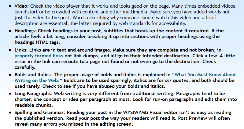 Eample of the bold HTML tag not closed, turning all text to follow bold. Post preview catches that.