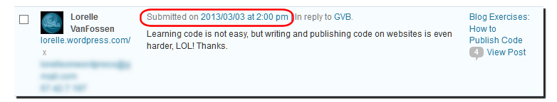 Example of the comment permalink in the date and time on the WordPress Comments Panel.