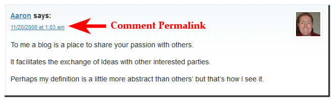 Example of a comment permalink in the date and time of the comment.