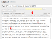 Example of the more or continue reading tag in the WordPress Text Editor to create an excerpt.