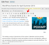 Example of the WordPress Visual Editor and the more button and excerpt indication.