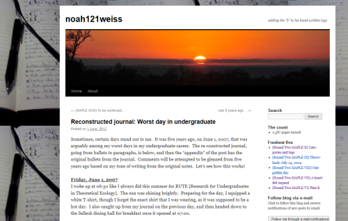 Example of the front of the site of Noah Weiss.