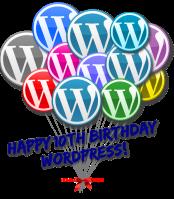 WordPress 10th anniversary birthday balloons.