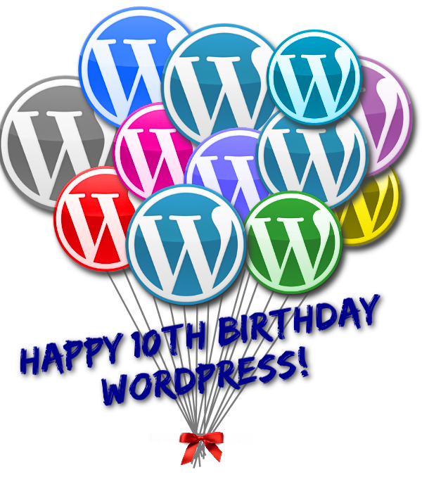 WordPress 10th anniversary birthday balloons.