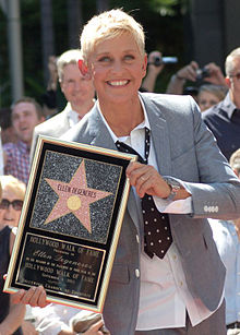 Ellen DeGeneres with star on Hollywood Walk of Fame in 2012.