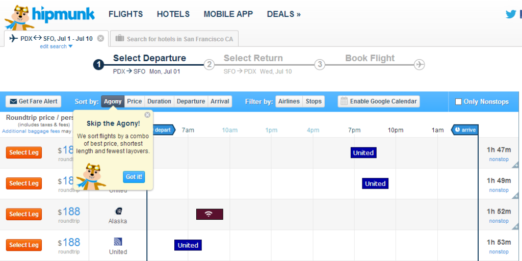 Hipmunk Arlines Flight Search Service offering sorting by agony.