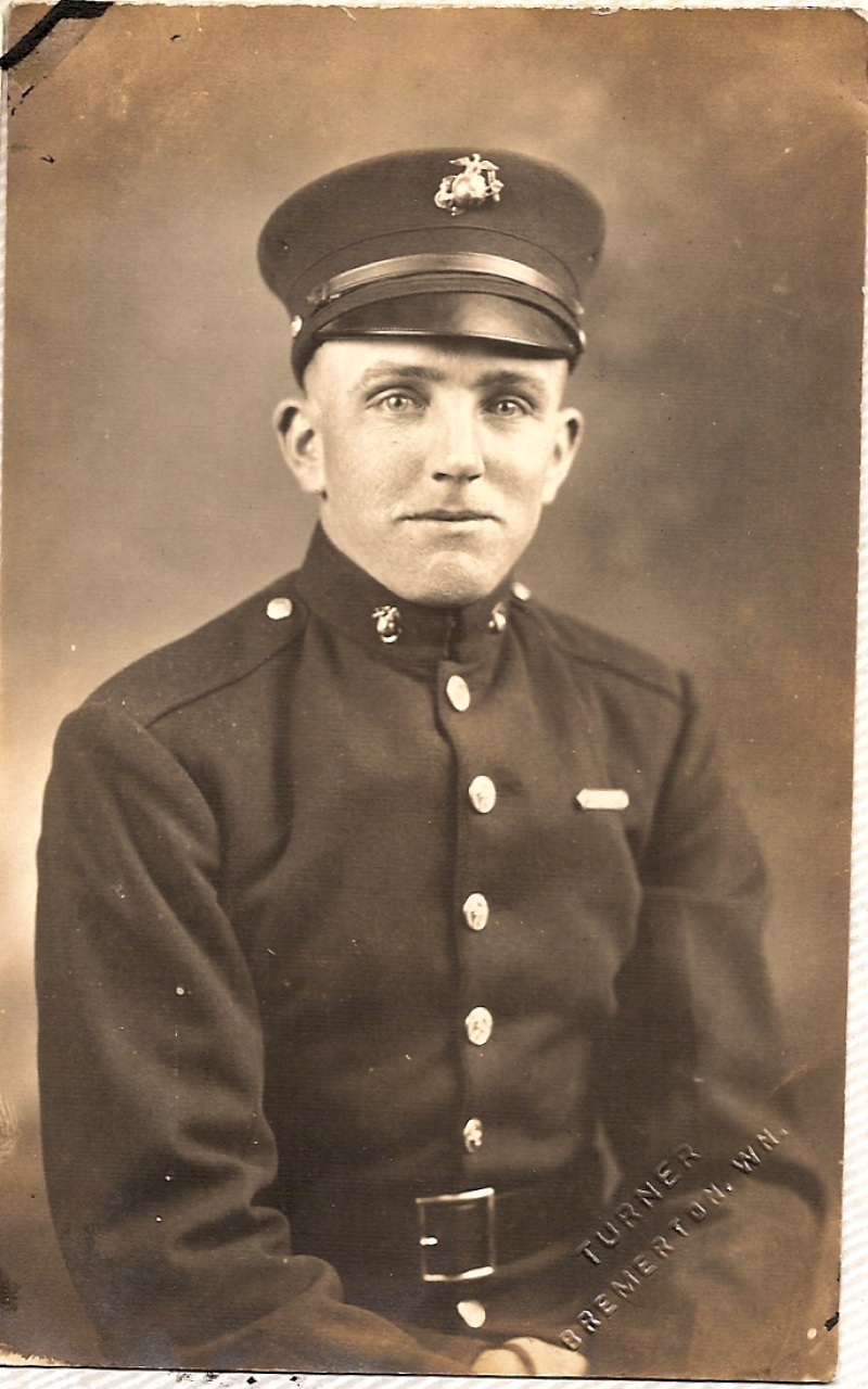 Howard W. West as a cadet in the Marines, circa 1924 - photo archives of Howard W. West Sr and Lorelle VanFossen.