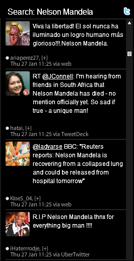 Tweets about rumors of Nelson Mandelas Death