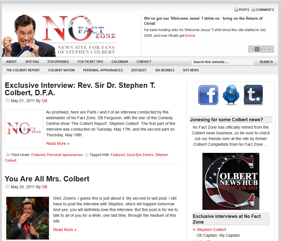 The Stephen Colbert Fan site, No Fact Zone with DB Ferguson.