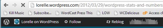 Reblog feature on the Admin Bar of WordPres.com.