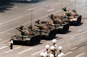 Lone man stands before tanks in Tiananmen Square China - wikicommons.
