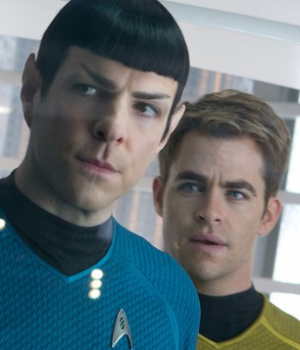 Zachary Quinto and Chris Pines as Spock and Kirk in new Star Trek movie - jj abrams film.