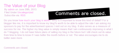 Example of comments closed on a WordPress site.