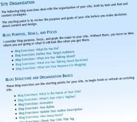 list of blog exercises grouped by category – Lorelle VanFossen on Lorelle onWordPress