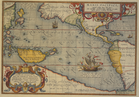Ancient Sea Chart Map.