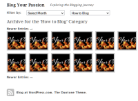 Example of the Blog Your Passion site about blogging, a photoblog WordPress Theme - featuring the category pageview - by Lorelle VanFossen.