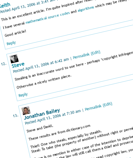 Example of comments in a WordPress site post - on Lorelle on WordPress with Lorelle VanFossen.