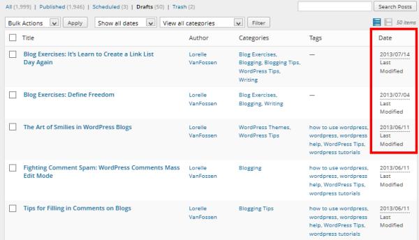 Draft posts in WordPress featured in date order - Lorelle VanFossen Blog Exercises Example.
