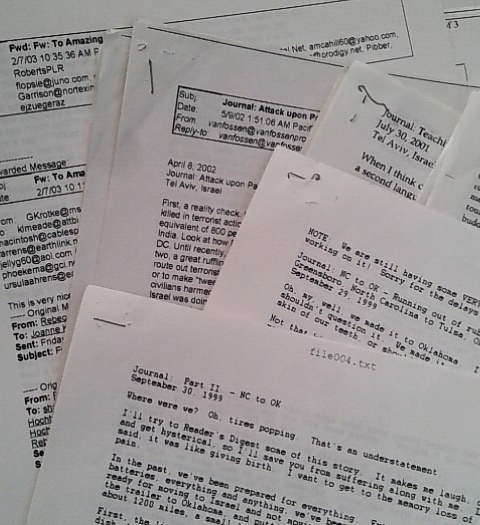 Emails collected and saved by Lorelles father of her travels on the road. Archived by Lorelle VanFossen.