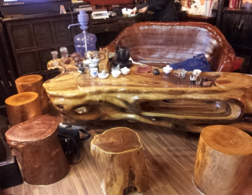 New Century Tea Gallery tea shop - their tea tasting table made of wood in Portland, Oregon - photo by Lorelle VanFossen of Lorelle on WordPress.