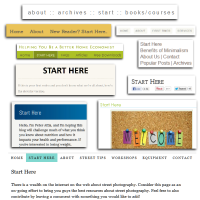 Examples of Start Here links in site navigation - most of which are unnecessary - graphic by Lorelle VanFossen of Lorelle on WordPress.
