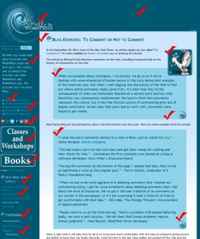 Example of counting all the design elements on a pageview on your site - graphic by Lorelle VanFossen.