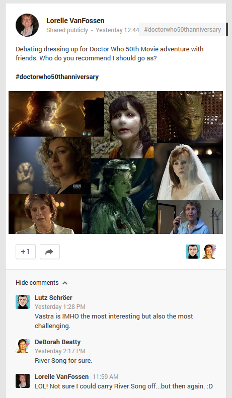 Google+ post inviting the masses to decide what costume Lorelle should wear to the 3D Doctor Who Movie event.