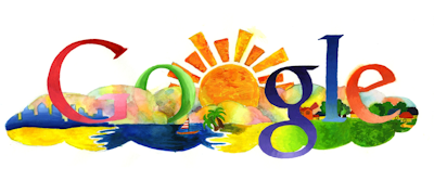 Google logo as a sunrise over nature.