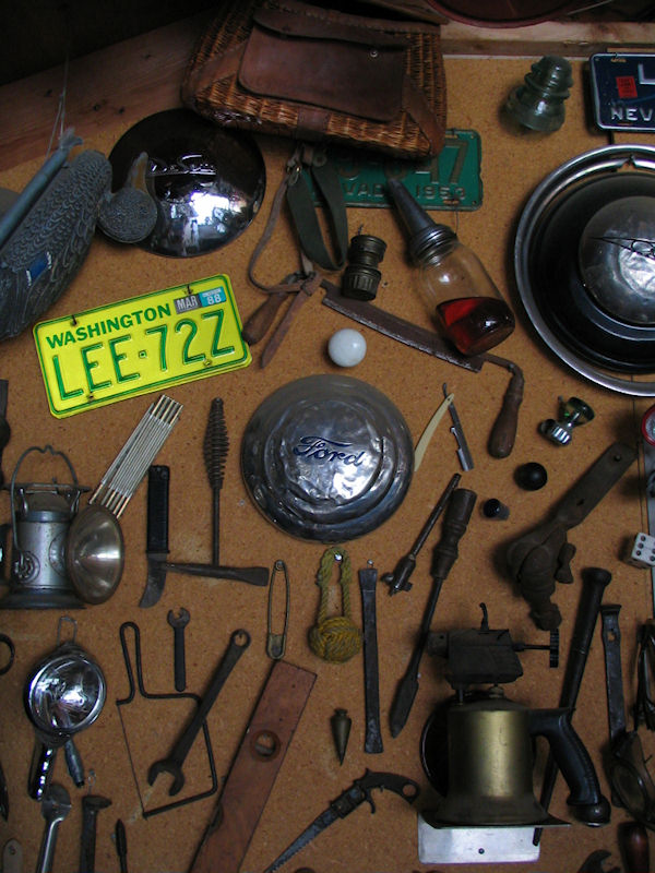 Photography by Lorelle VanFossen - The Tools on the Garage Wall of Don Lee. Woodworking and automotive tools.