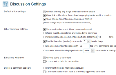 Screenshot of WordPress Settings panel for Discussion settings and email notifications.