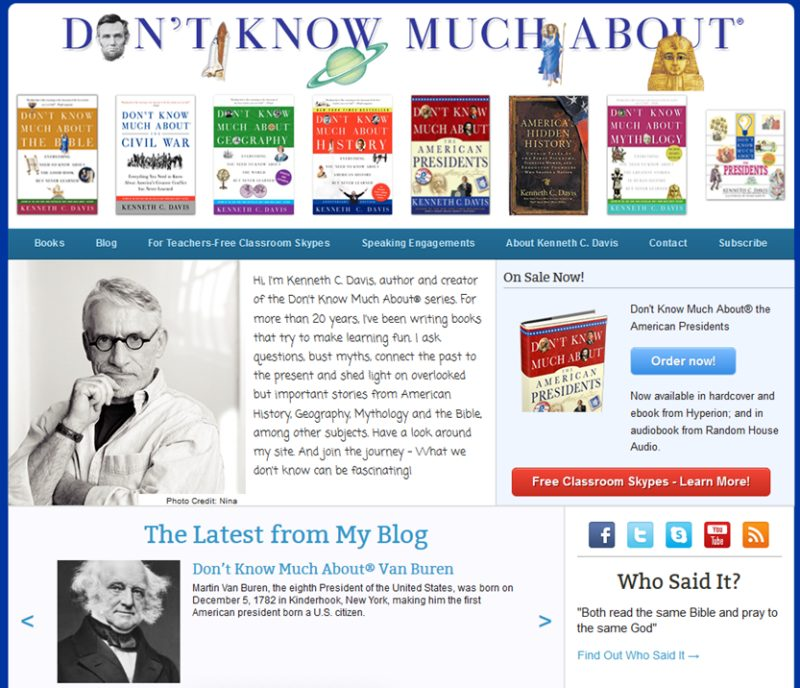 Example of an author model featuring the books - Kenneth Davis Don't Know Much About series