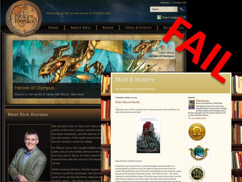 Example of an integrated blog model that fails - rick riordan