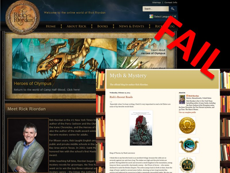 Example of an integrated blog model that fails - rick riordan