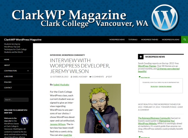ClarkWP Magazine student interview with Jeremy Wilson.